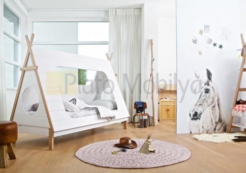 ahsap çadırlı çocuk odası