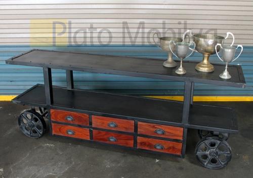 Tekerlekli Demir Profil Tv Ünitesi TU-002
