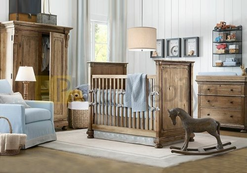 Ahşap Eskitme Bebek Odası Takımı BOT-028