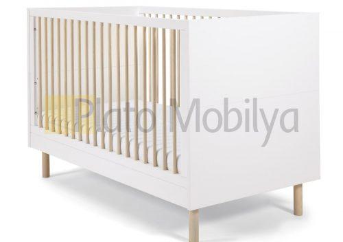 Beyaz Ahşap Bebek Beşiği BB-049