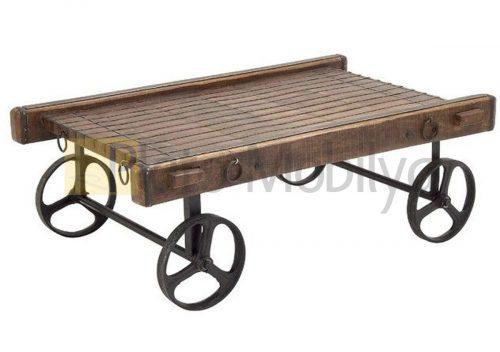 Rustik Ahşap Tekerlekli Sehpa SM-016