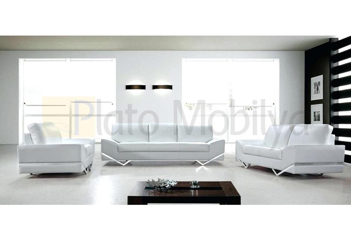 Beyaz Modern Deri Koltuk Takimi Kt 018 Plato Mobilya