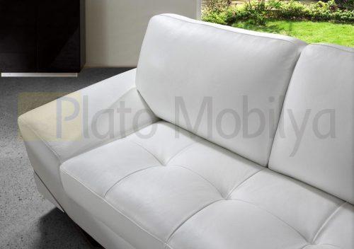 Beyaz Modern Deri Koltuk Takımı KT-018